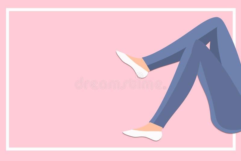 Slanka kvinnaben i jeans med ramen på rosa begrepp för bakgrundsvektorillustration i plan stil vektor illustrationer