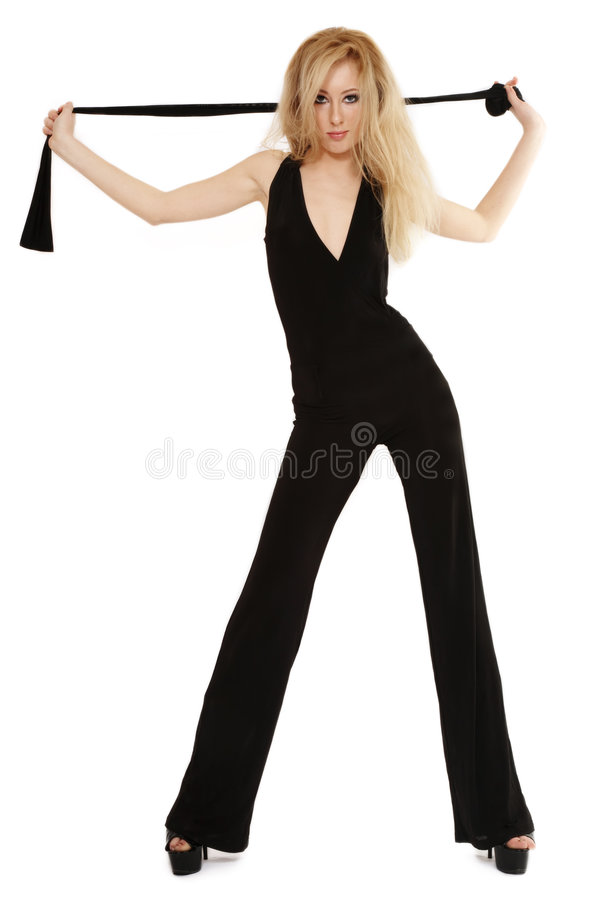 Slanke blond in zwarte stock afbeelding