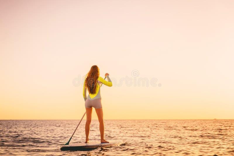 Slanke jonge vrouw op tribune op peddelraad met mooie zonsondergang of zonsopgangkleuren stock foto