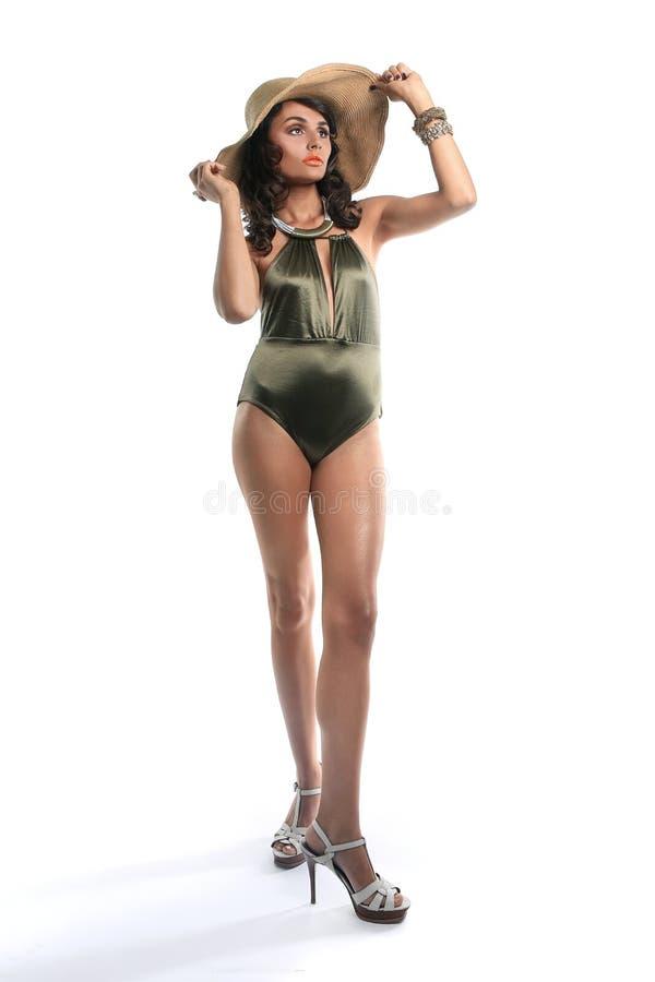 Slanke Vrouw in Modieus Badpak stock fotografie
