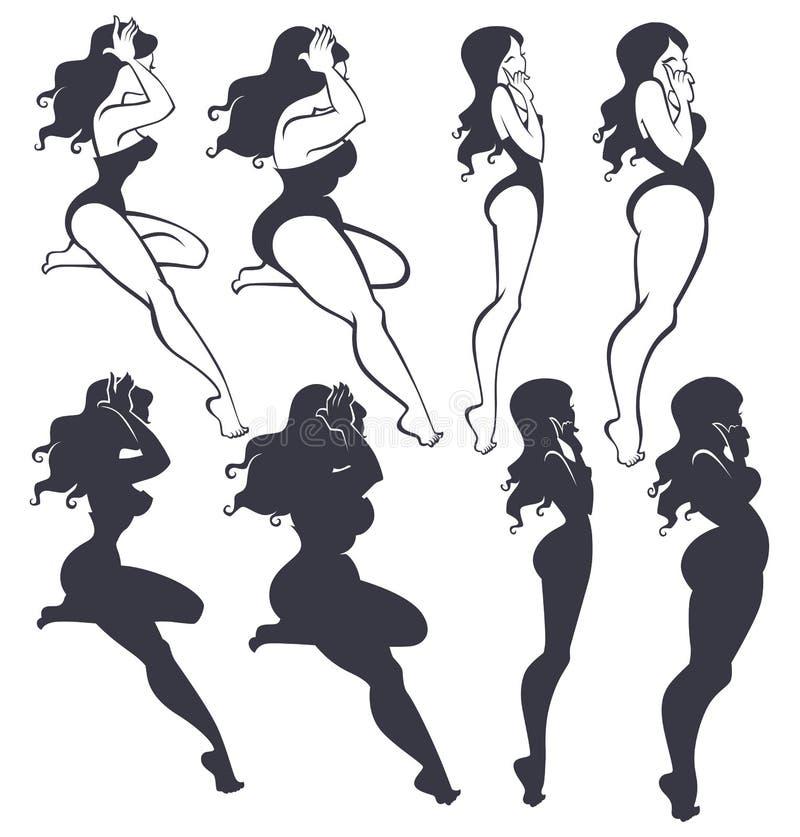slankt fett vektor illustrationer