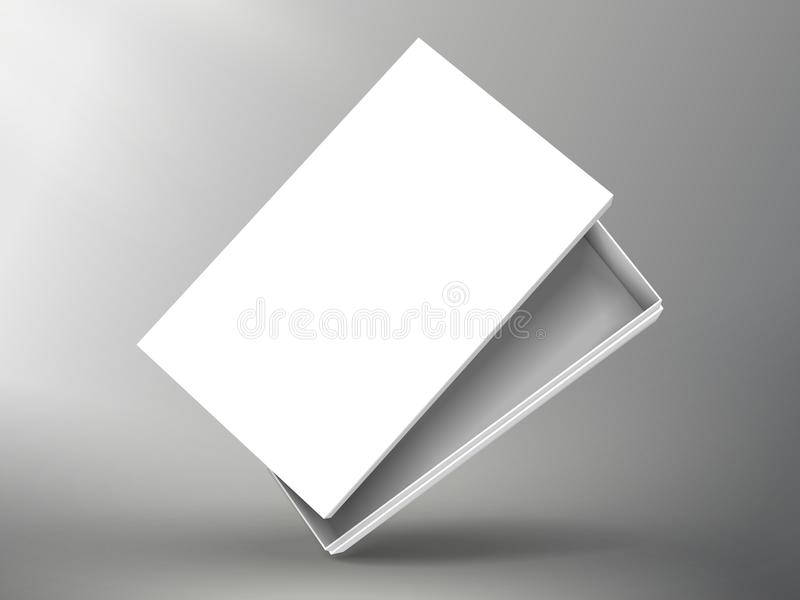 Blank box design. Slanting blank half open white flat paper box with separate lid 3d illustration, can be used as design element, isolated bicolor background stock illustration
