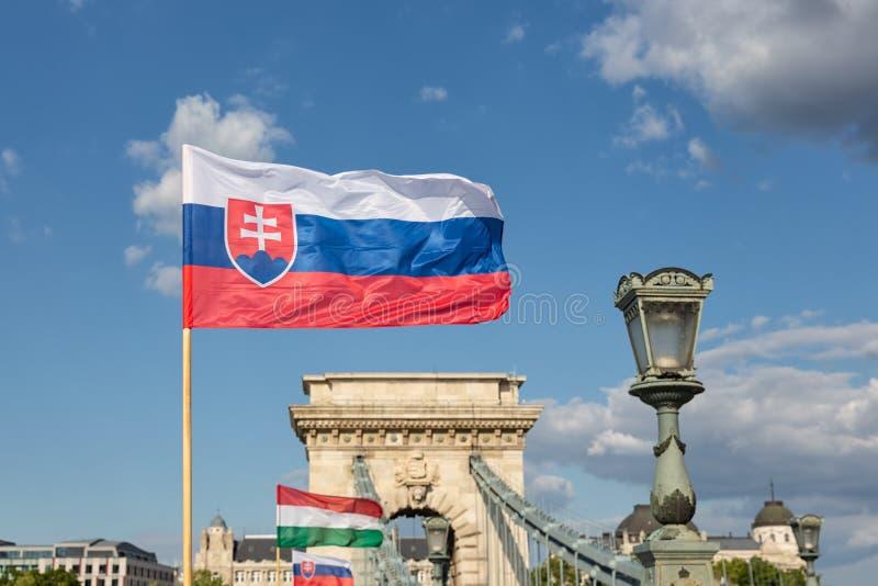 Slaovak und ungarische Flagge an der Kettenbrücke Budapest, Ungarn stockfotos