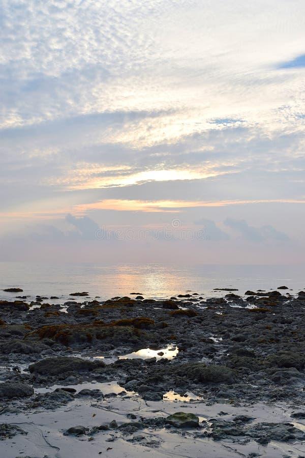 Slap Water in Rocky Beach tijdens Eb met Kleuren van Zonsopgang in Heldere Hemel royalty-vrije stock foto