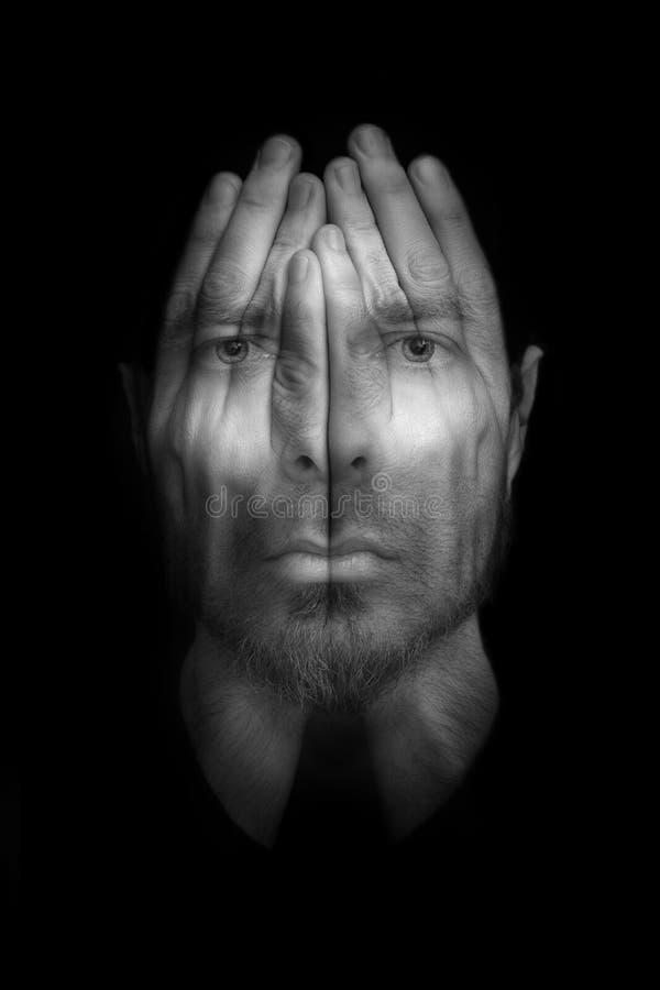 Slapeloosheid of depressieconcept royalty-vrije stock fotografie