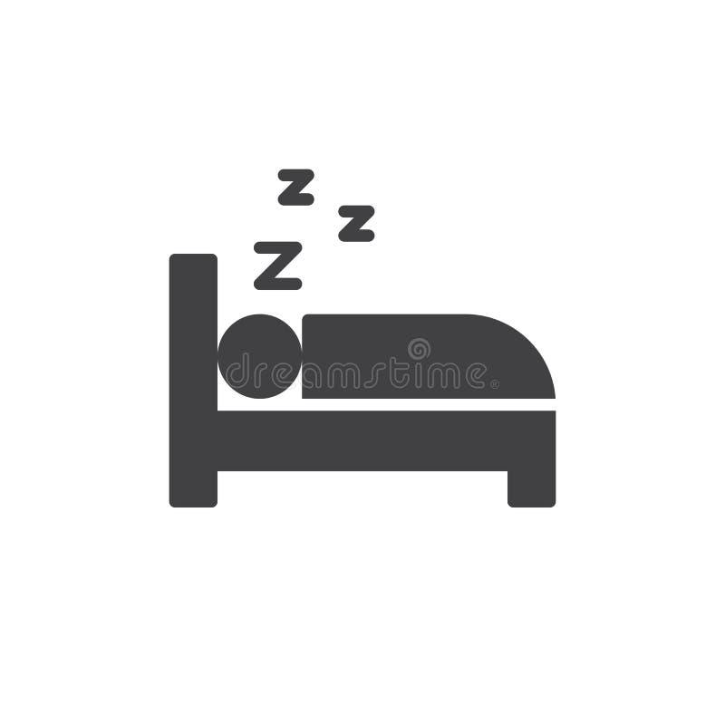 Slapend in het vector, gevulde vlakke teken van het bedpictogram, stevig die pictogram op wit wordt geïsoleerd royalty-vrije illustratie
