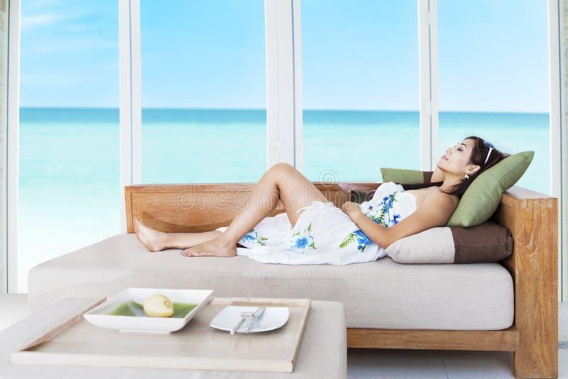 Slapend op vakantie royalty-vrije stock afbeelding
