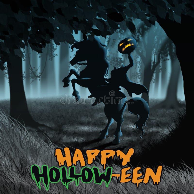 Slaperig zegen Ruiter de Zonder hoofd van Halloween vector illustratie