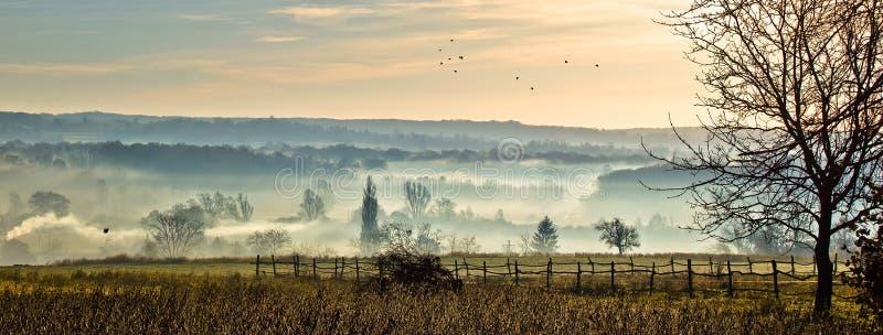 Slaperige hol - mystieke vallei in mist royalty-vrije stock fotografie