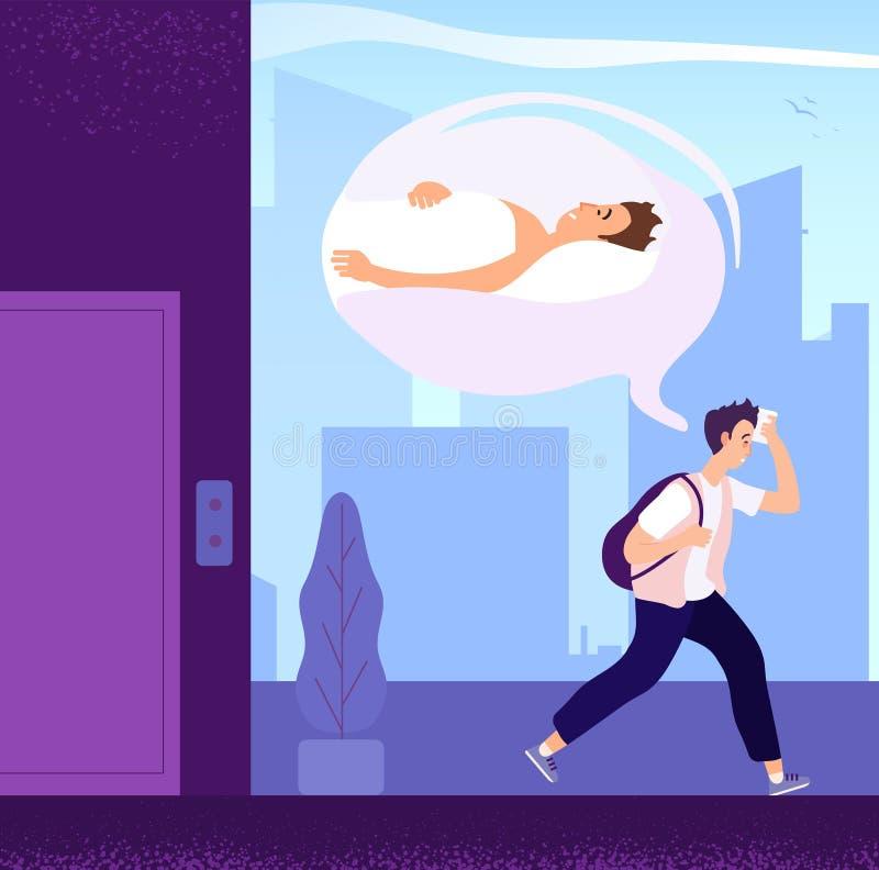 Slaperige Mens Kerel die slaapwandelen wensen aan bureau in ochtend Vermoeid volwassen droevig persoons verlangend rust Beeldverh vector illustratie
