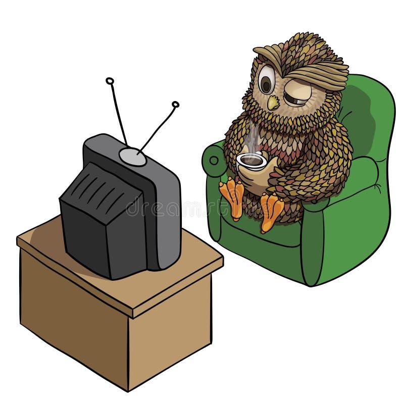 Slaperige Uil met Kop van Koffie, het Letten op TV in de Ochtend, Grappig die Karakter op Witte, Inspirational Ochtend Vectorillu royalty-vrije illustratie
