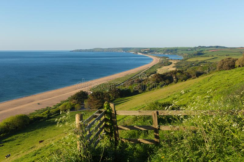 Slapton Sands Devon with beach coast and lagoon. Slapton Sands beach and coast Devon England UK used by US Army in preparation for the D-Day landings in Exercise royalty free stock photography