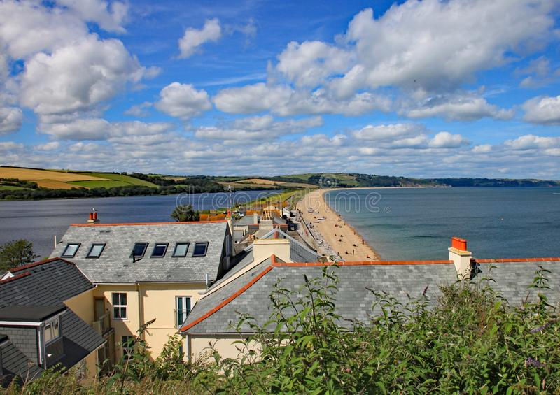 SLAPTON SANDS, DEVON, ENGLAND - 15 TH JULY 2012: View of Slapton Sands Beach and lake. This was the location of Exercise Tiger,. The rehearsals for the D-Day stock photography