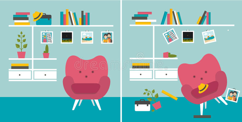 Slarvigt rum för rumsren und Vardagsrum med fåtölj- och bokhyllor royaltyfri illustrationer