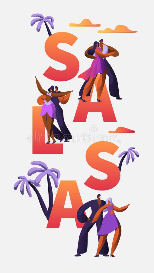 Slasa Festival Character Dance Typography Vertical BannerTemplate. Passion Cuba Dancer. Latino Man Woman make Tango. And Rumba Entertainment Concept for royalty free illustration