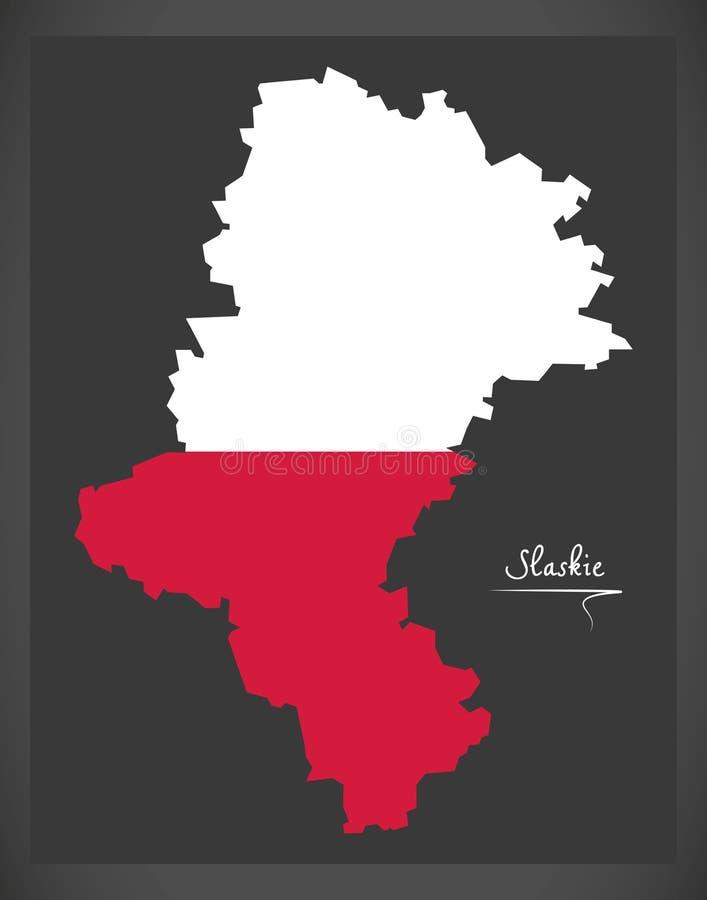 Slaskie map of Poland with Polish national flag illustration. Slaskie map of Poland with Polish national flag royalty free illustration
