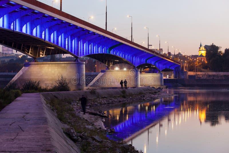 Slasko-Dabrowski Bridge in Warsaw stock photography