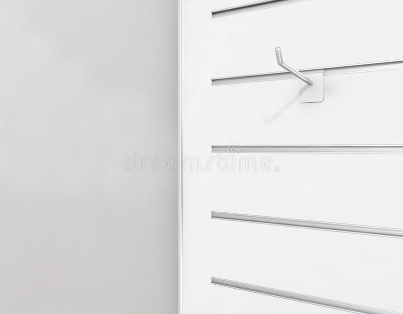 Slat-board display with peg-hook. Slat-board display with isolated peg-hook . high res render royalty free stock images