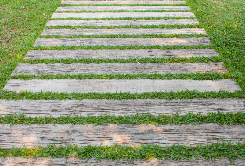 Slat with grass. Can be used the pathway stock photos
