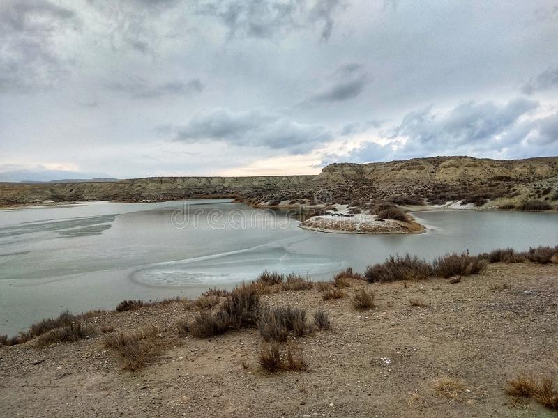 Slat lake. During the winter frozen on the top royalty free stock images