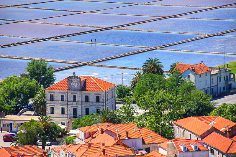 Slat pans in Ston town, Croatia. The Ston salt pans are the oldest in Europe and the largest preserved ones in the history of the Mediterranean royalty free stock photo