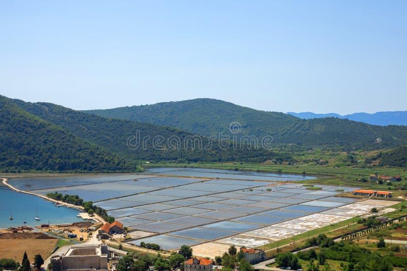 Sea slat manufacture in Ston town, Croatia. Slat pans in Ston town, Croatia royalty free stock image