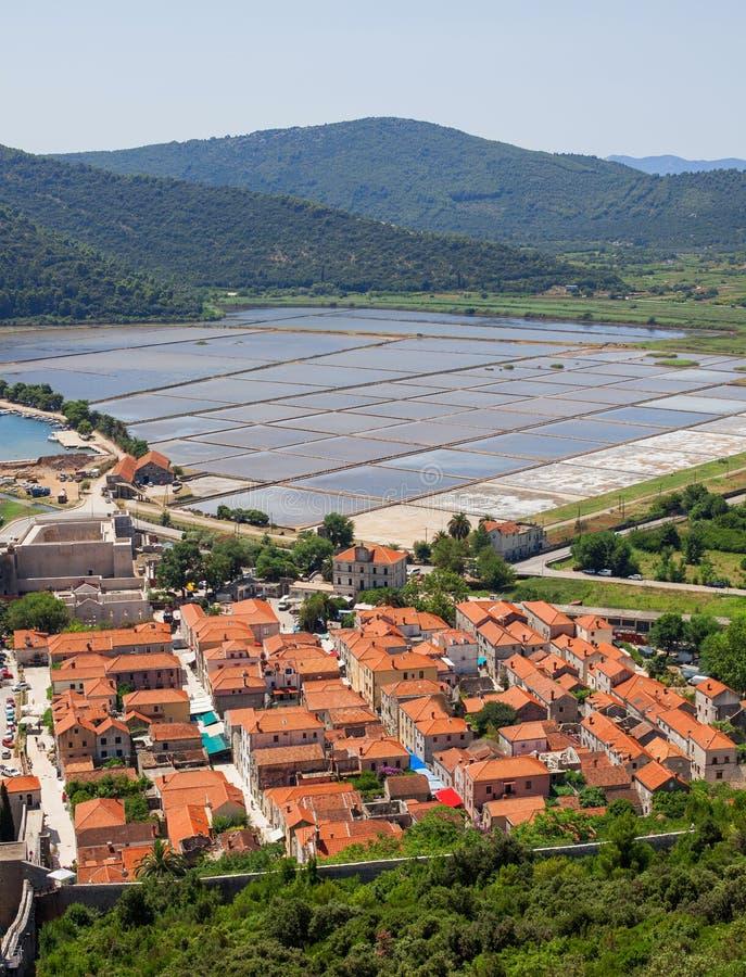Sea slat manufacture in Ston town, Croatia. Slat pans in Ston town, Croatia royalty free stock photography