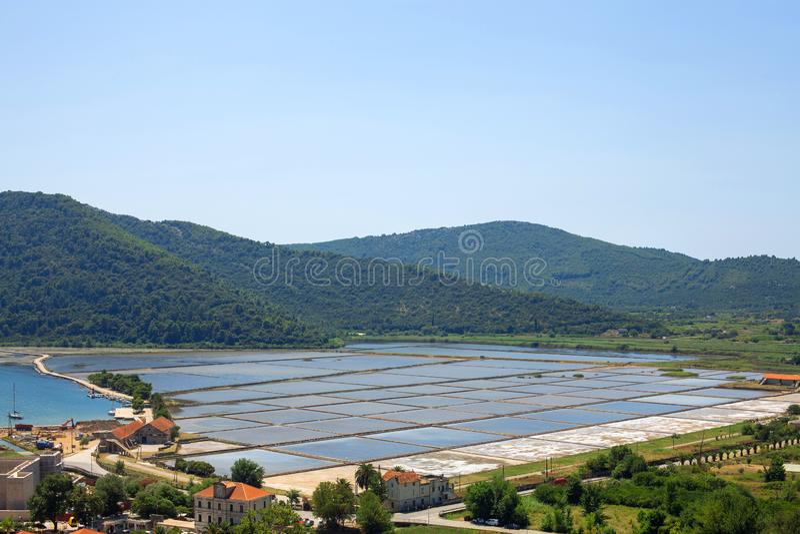 Sea slat manufacture in Ston town, Croatia. Slat pans in Ston town, Croatia stock photos