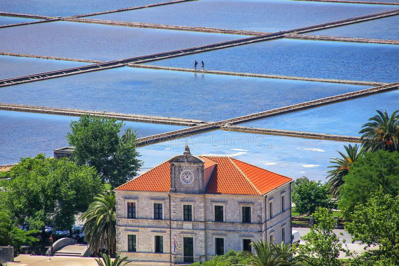 Slat pans in Ston town, Croatia. The Ston salt pans are the oldest in Europe and the largest preserved ones in the history of the Mediterranean royalty free stock images