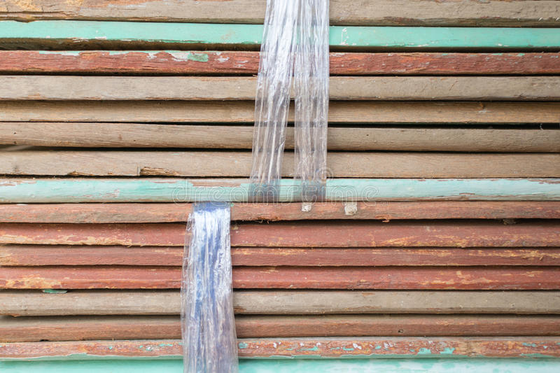 Slat wood for construction. Slat wood from natural hardwood in warehouse for a construction royalty free stock image