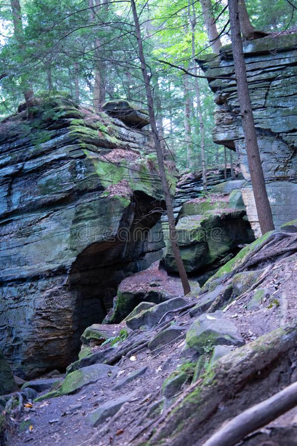 Slate cliffs in the forest royalty free stock photography