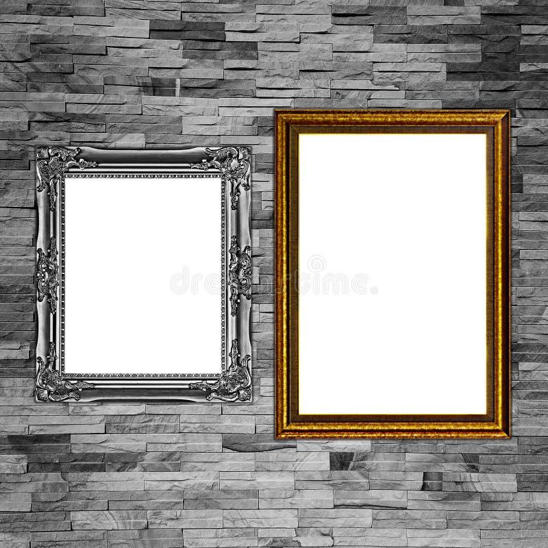slate le mur de briques avec le cadre pour le modèle et le fond photos libres de droits
