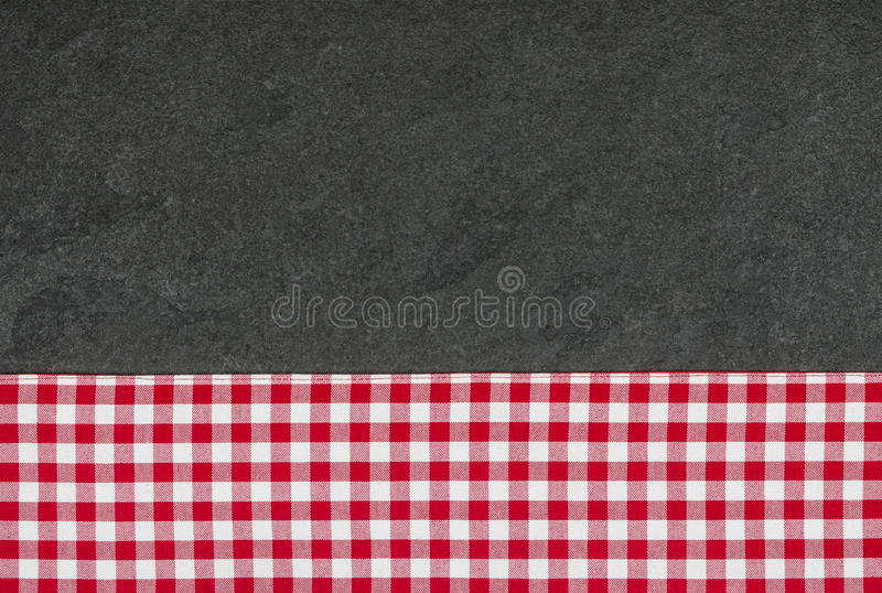 Download Slate Plate With A Checkered Tablecloth Stock Image - Image: 32549217