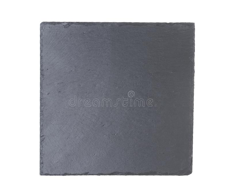 Slate plate isolated on a white background. Top view stock photo