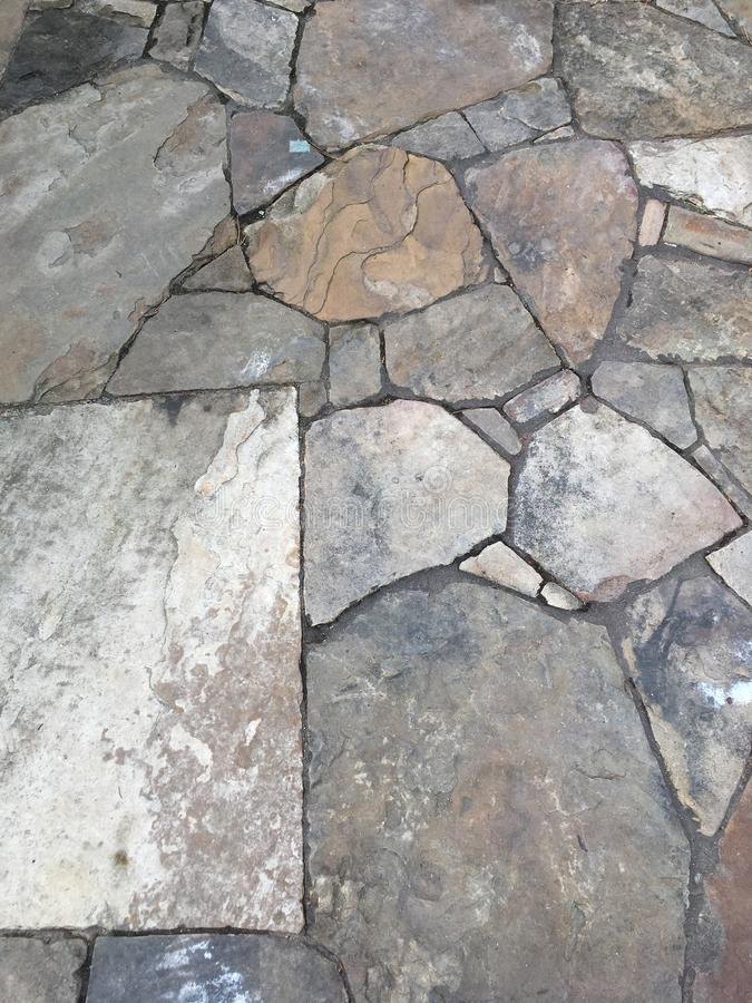 Slate Rock Walkway Background. Slate Rock Outdoor Walkway Background with Neutral Gray and Brown Color Tones stock photos