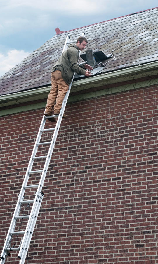 Roof Worker On Ladder Stock Image Image Of Dangerous