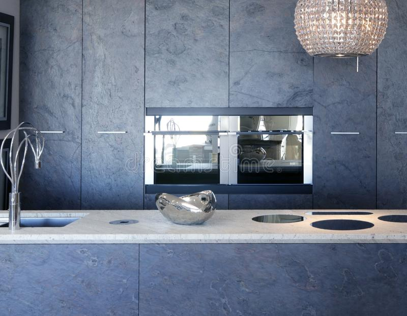 Slate stone kitchen forniture marble white bench stock images