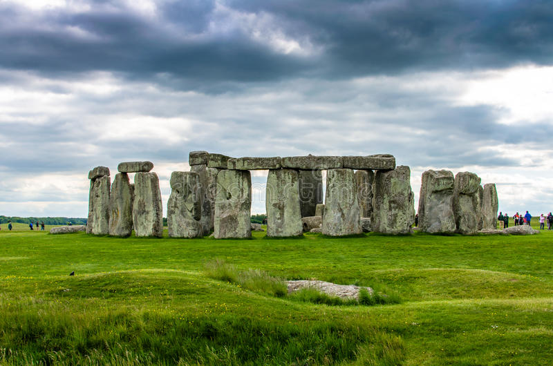 The slaughter stone at Stonehenge in Salisbury, England stock images