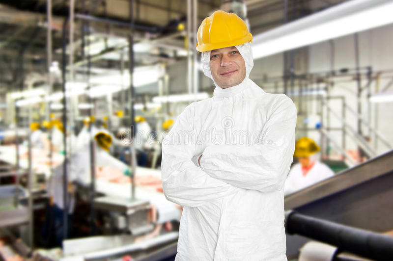 Slaughterhouse worker. Smiling worker in a meat processing factory and slaughterhouse, wearing hygienic clothing royalty free stock image