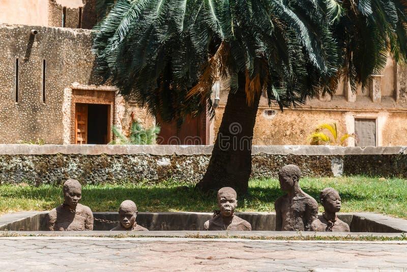 Slav- Market Memorial i stenstad på den Zanzibar ön, Tanzania arkivfoton