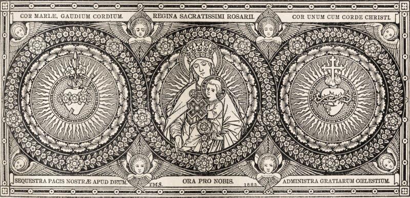 SLAVA SLOVAKIEN, NOVEMBER - 21, 2016: Litografiet av Madonna och heards av Jesus och Mary royaltyfri bild