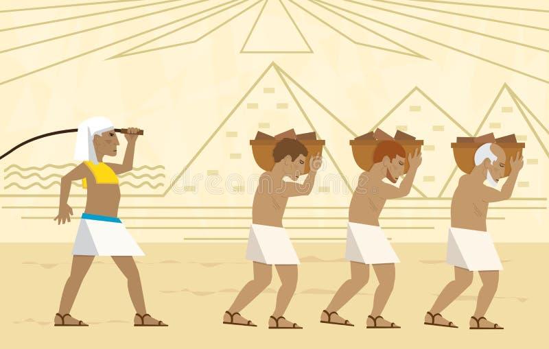 Slavar i Egypten stock illustrationer