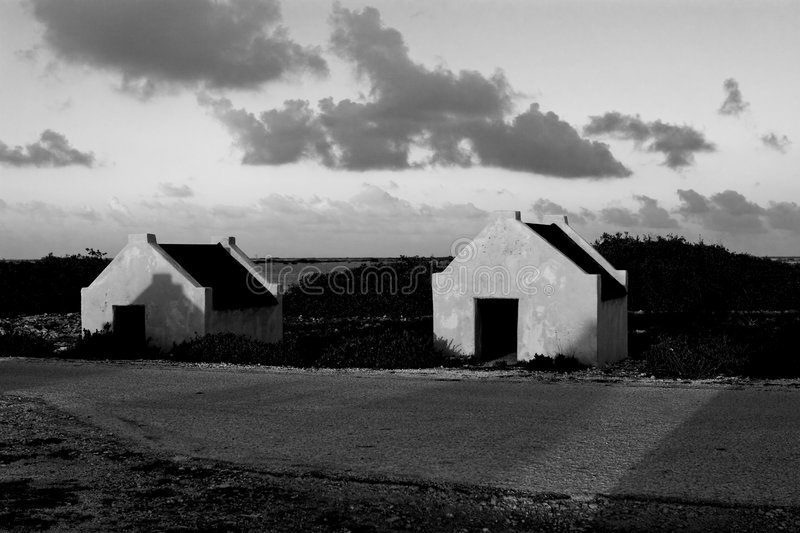 Slave Huts in Bonaire royalty free stock photography