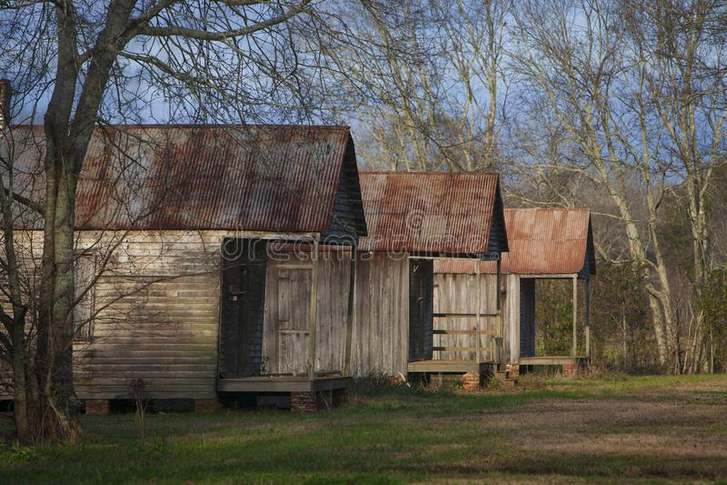 Slave quarters at the Laurel Valley Sugar Plantation. Near Thibodaux, Louisiana, was used as a set for the feature film `Ray,` in 2004 royalty free stock images