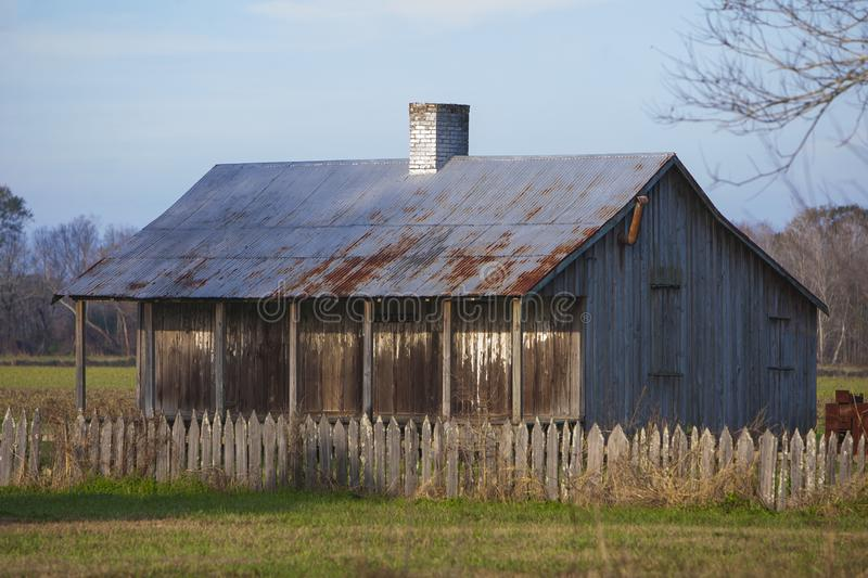 Slave quarters at the Laurel Valley Sugar Plantation. Near Thibodaux, Louisiana, was used as a set for the feature film `Ray,` in 2004 royalty free stock photos