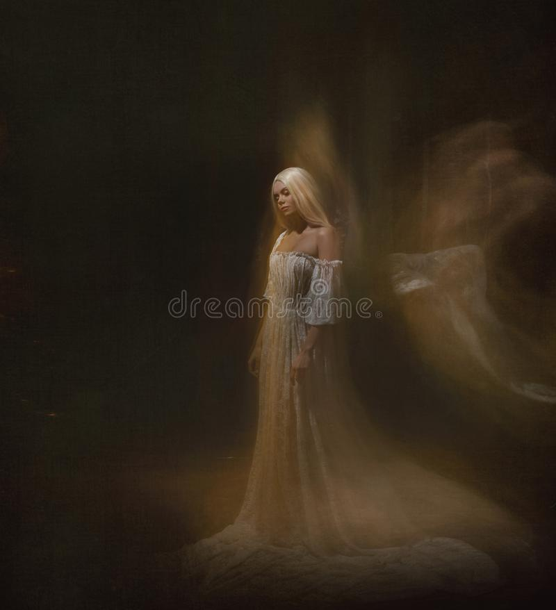 Slave, servant of darkness ... Queen albino. A blonde girl, like a ghost, in a white vintage dress, in a black room, a. Gothic, artistic photograph of a stock image