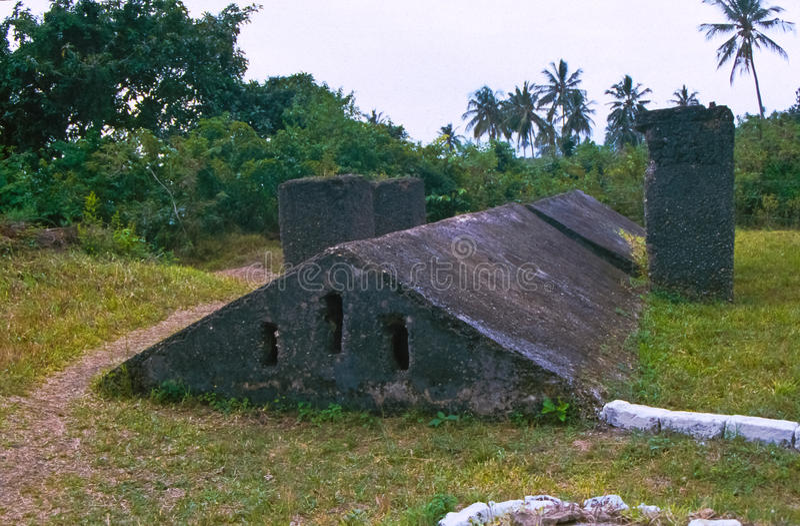 Slaverikällare i Zanzibar arkivbilder