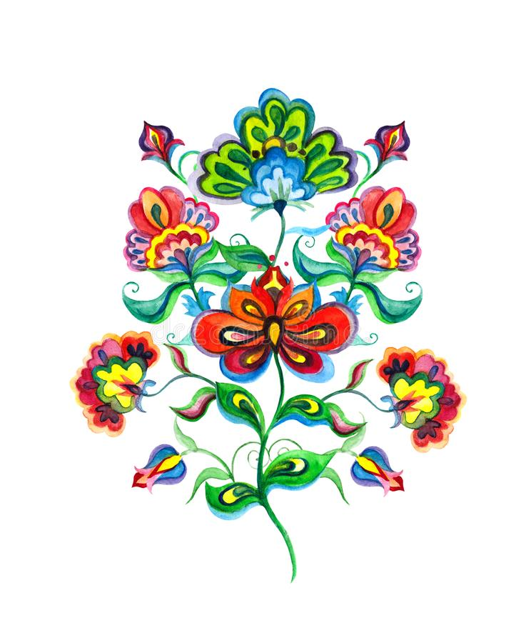 Slavic folk art flowers. Watercolor fairy motif - Eastern european hand crafted floral ornament royalty free illustration