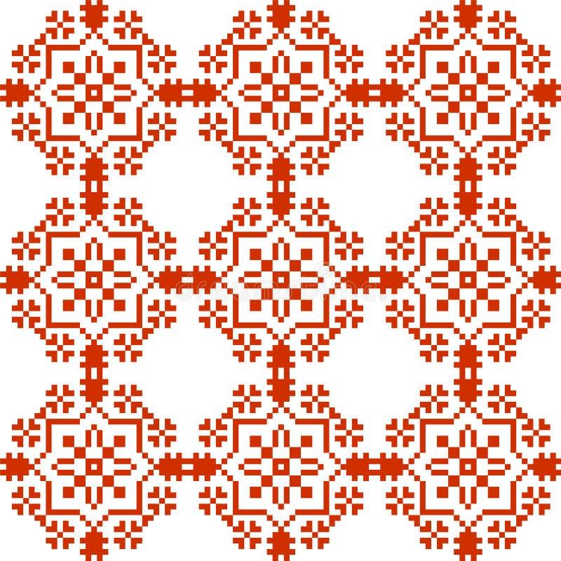 Slavic geometrical ornament. Seamless pattern in red stock illustration
