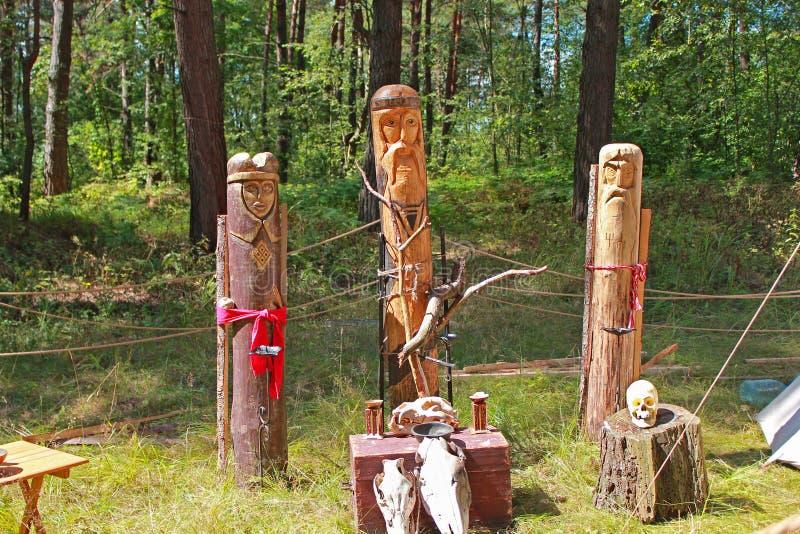 Slavic Idols. Wooden statues of Slavic gods, sacrifice royalty free stock photos